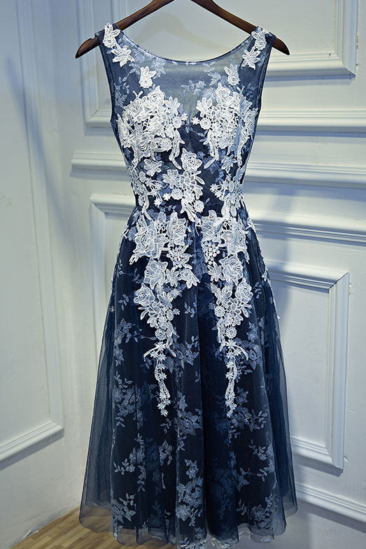 Unique dark blue lace short prom dress, cute homecoming dress