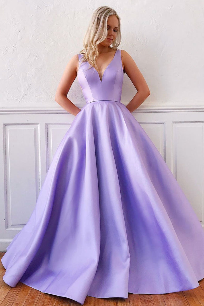 Simple purple satin long prom dress purple formal dress