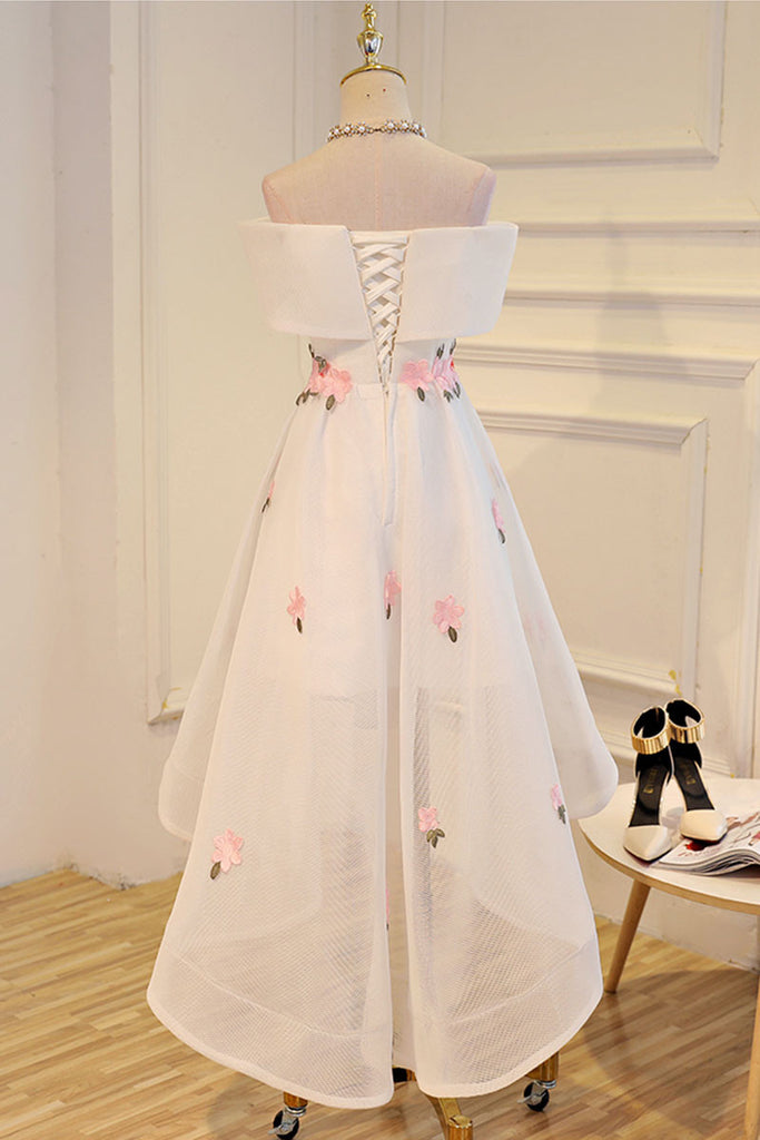 White applique high low prom dress, white evening dress