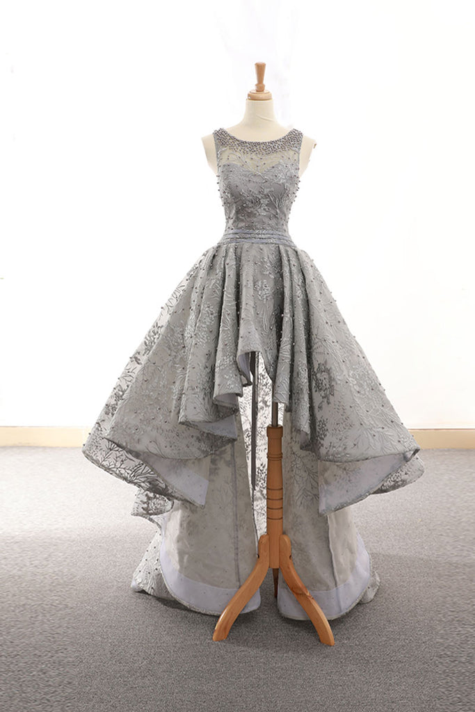 Gray tulle lace high low prom dress lace homecoming dress