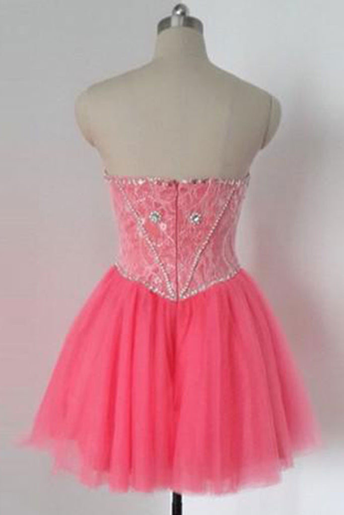 Pink tulle sweetheart sequin beads short prom dress, cute homecoming dress