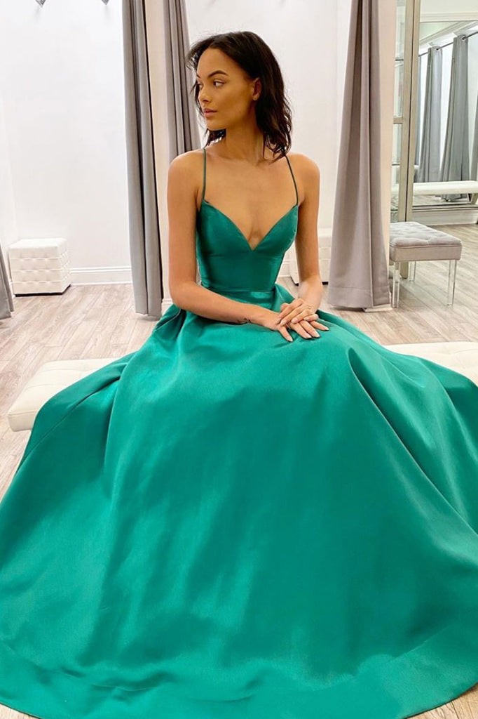 Simple green v neck satin long prom dress green evening dress