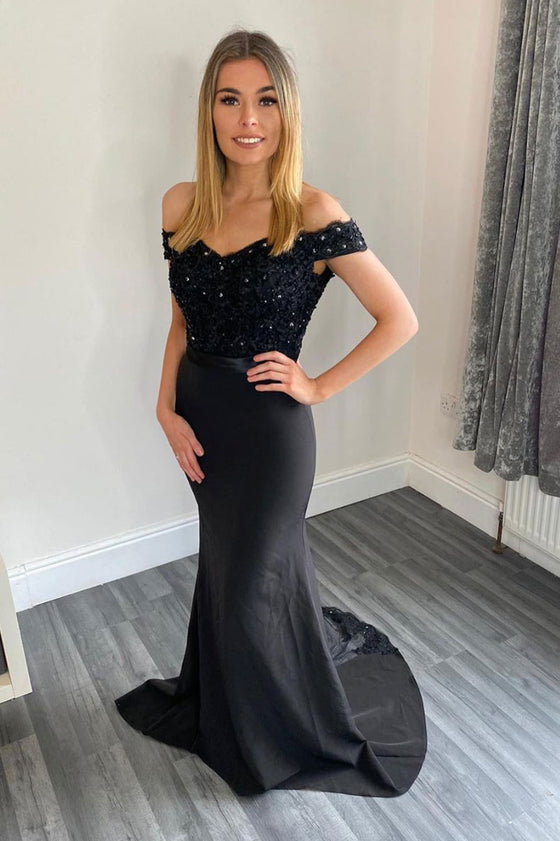 Black sweetheart off shoulder lace long prom dress black bridesmaid dress