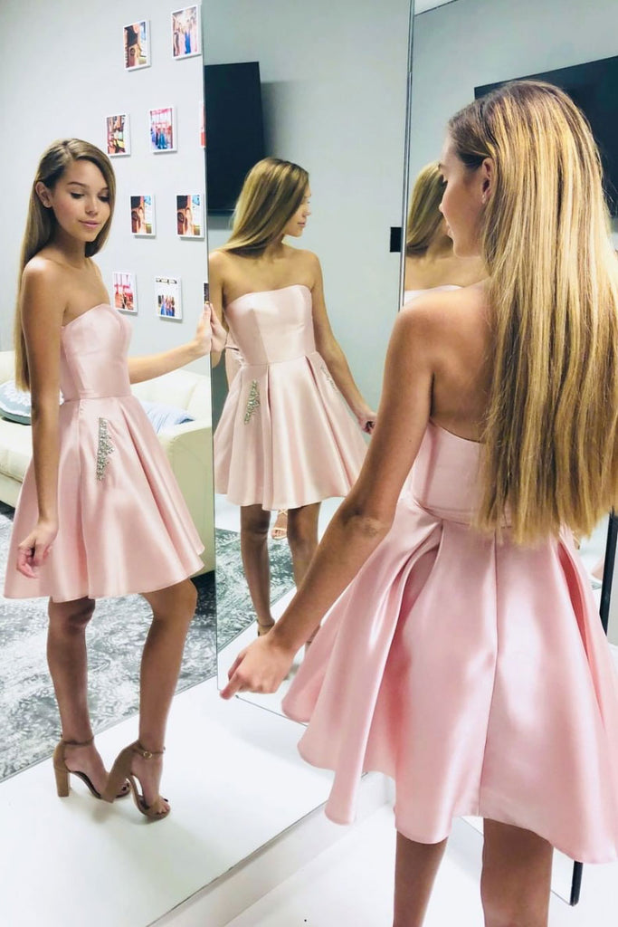 Pink satin short prom dress pink homecoming dress