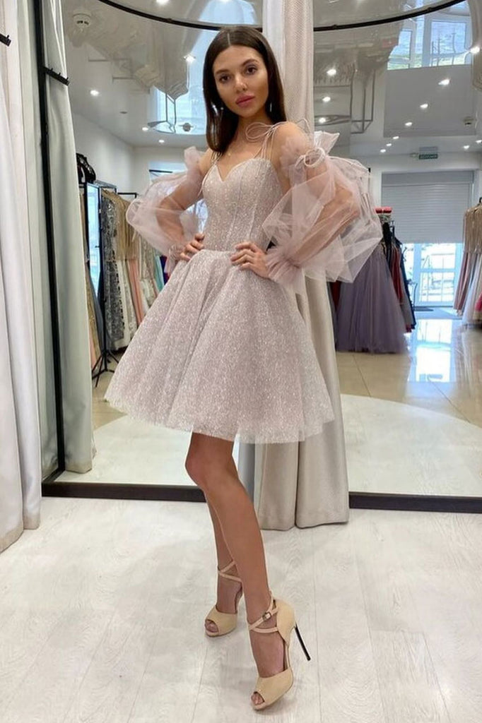 Cute sweetheart neck tulle sequin short prom dress, sequin cocktail dress