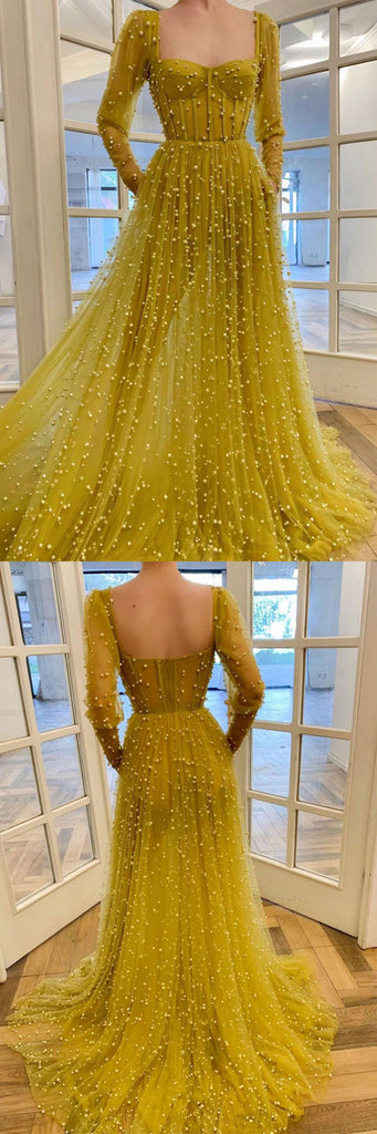 Yellow tulle beads long prom dress tulle long formal dress
