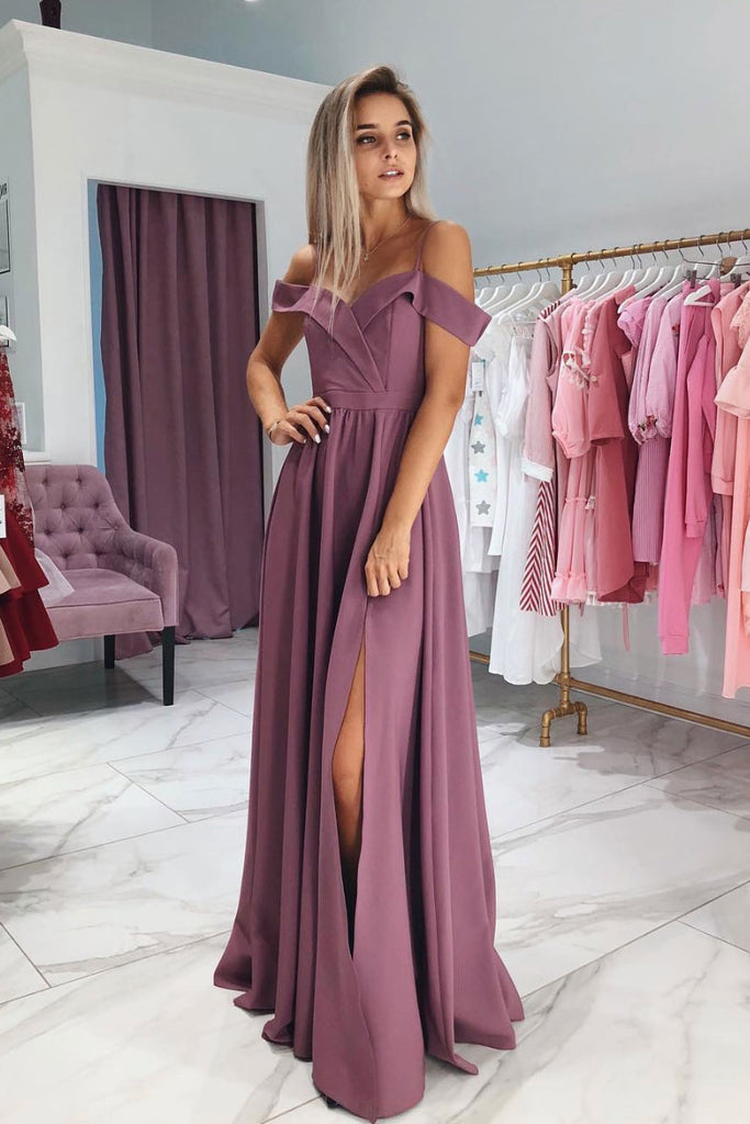 Simple sweetheart long prom dress, pink evening dress