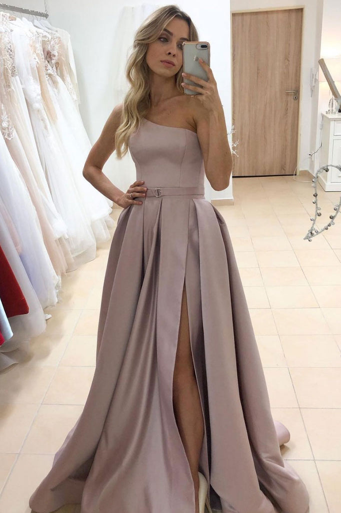 Simple satin one shoulder long prom dress formal dress