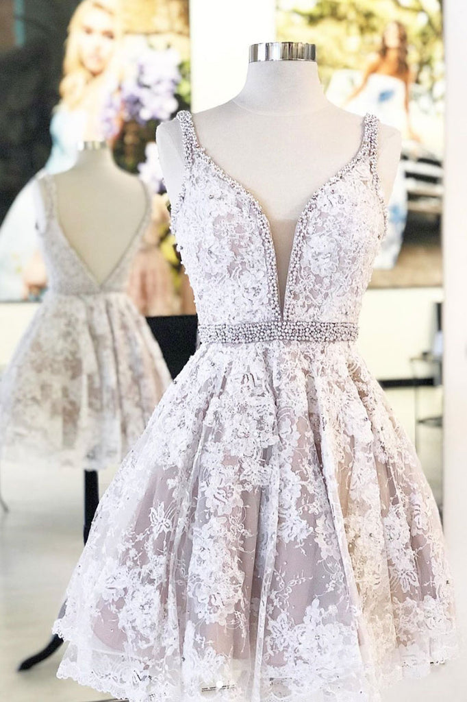White v neck tulle lace short prom dress, lace homecoming dress