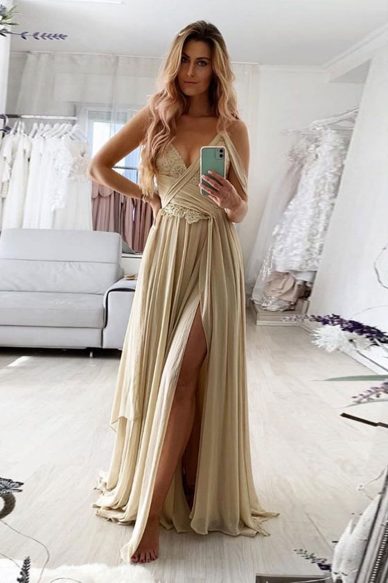 Champagne v neck chiffon lace long prom dress lace formal dress