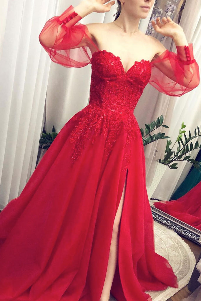 Red tulle lace long prom dress red tulle evening dress