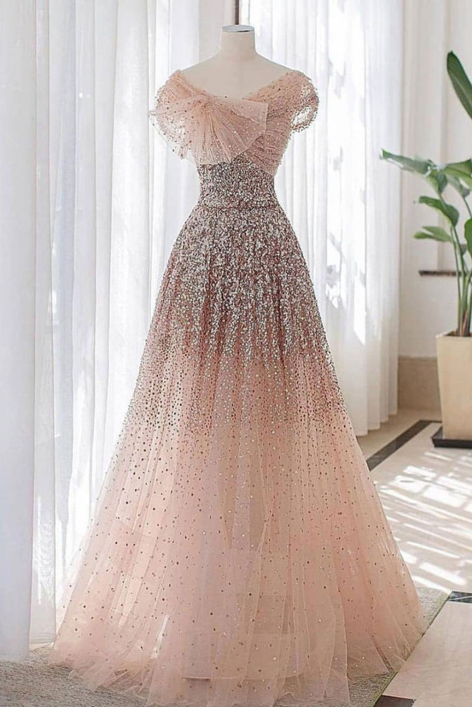 Pink tulle sequin long prom dress pink tulle evening dress