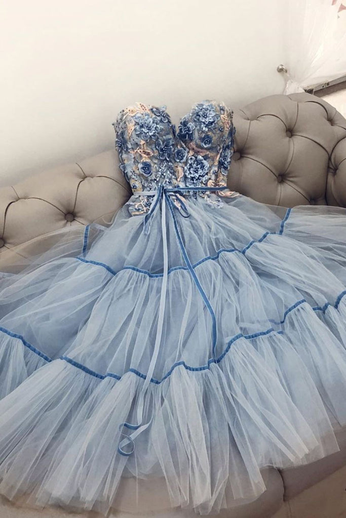 Blue sweetheart tulle lace prom dress blue formal dress