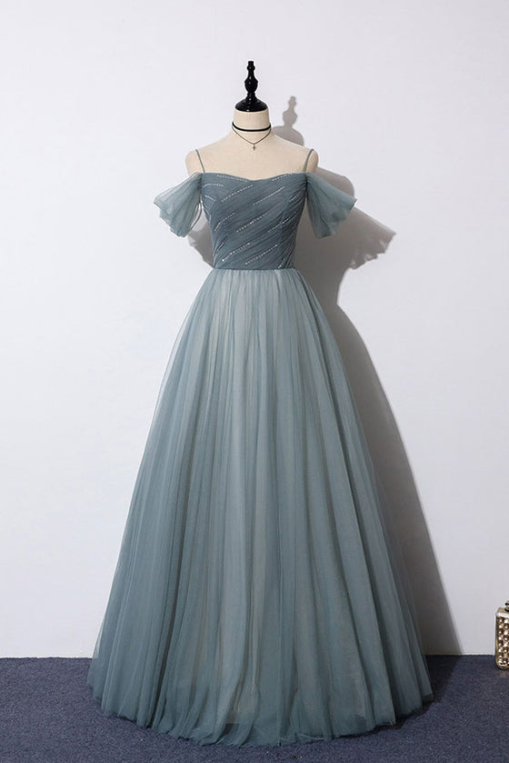 Gray blue sweetheart tulle formal dress blue evening dress