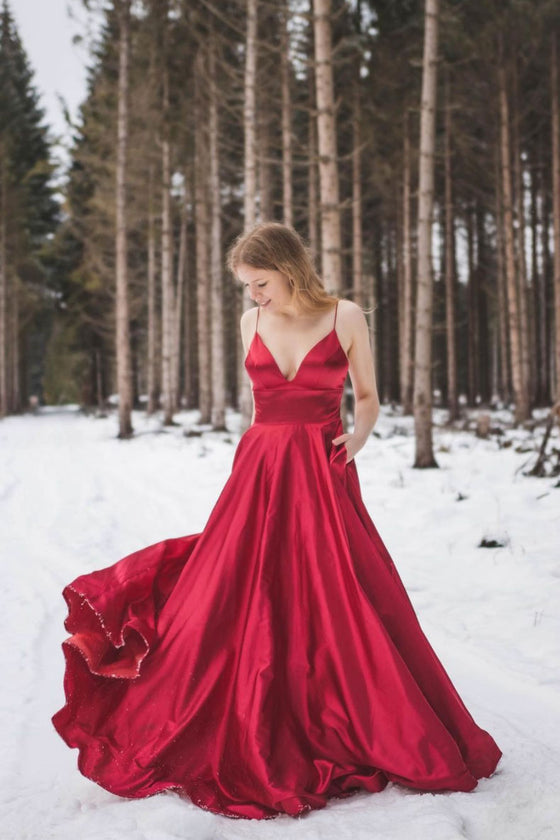 Red v neck satin long prom dress red bridesmaid dress