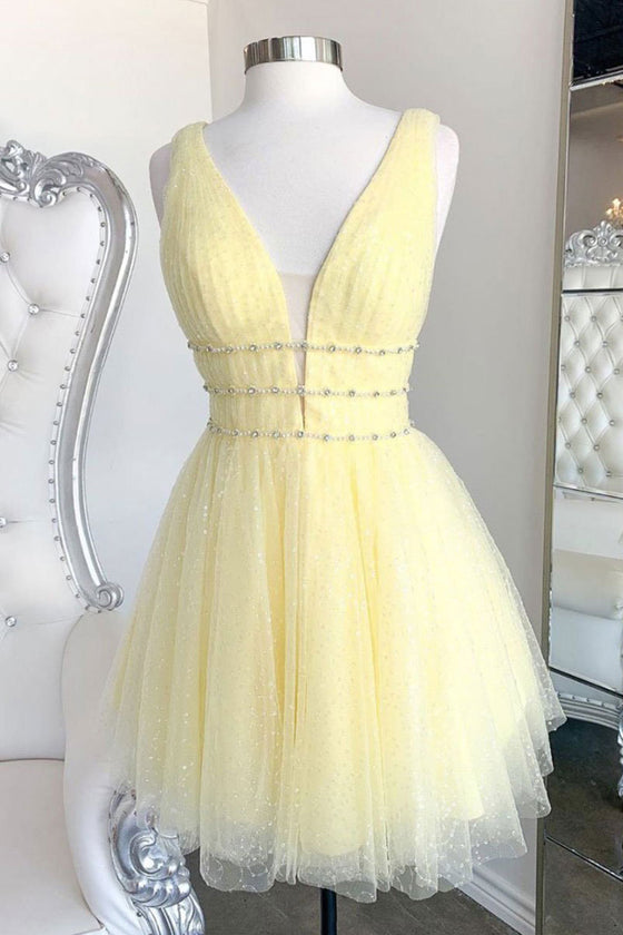 Yellow v neck tulle sequin short prom dress yellow formal dress