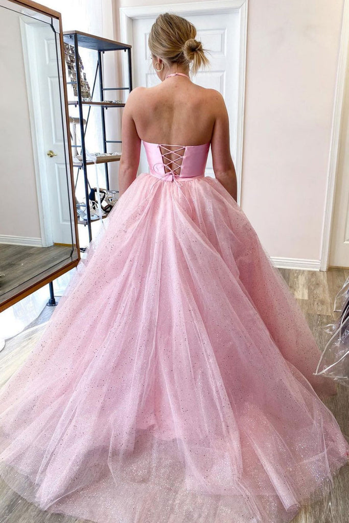 Pink two pieces satin long prom dress pink evening dress