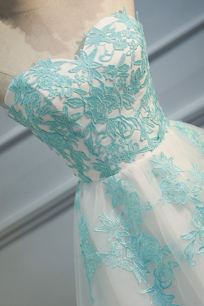 Green lace tulle short prom dress, cute homecoming dress