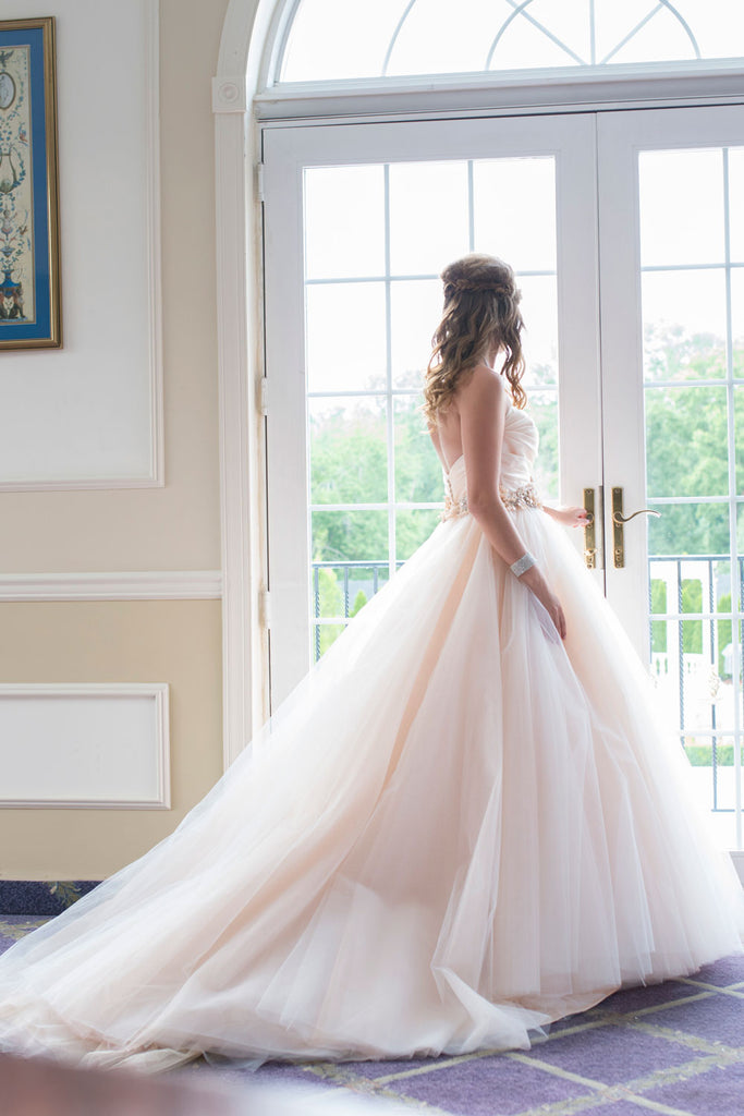 Champagne sweetheart tulle long wedding dress, champagne bridal dress