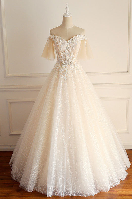 Champagne tulle lace long prom dress, champagne tulle wedding dress