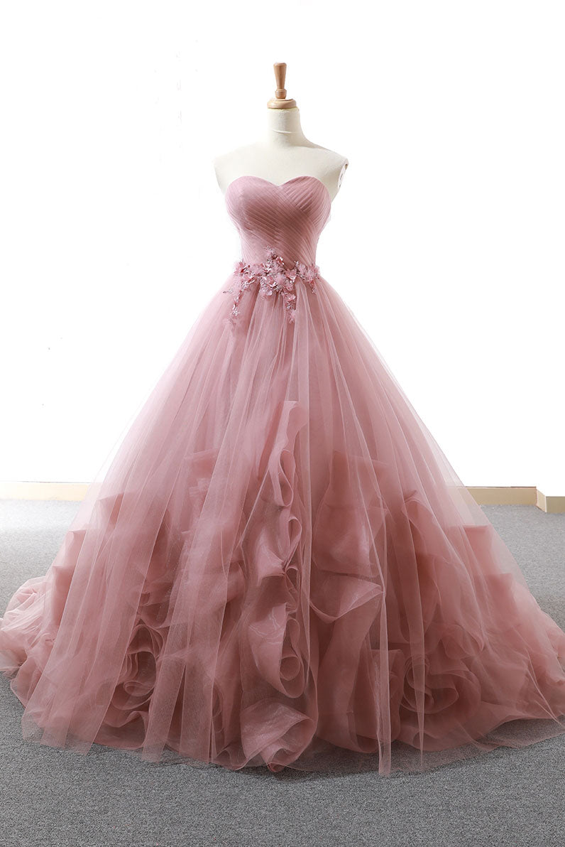 Pink sweetheart tulle long prom gown, tulle evening dress