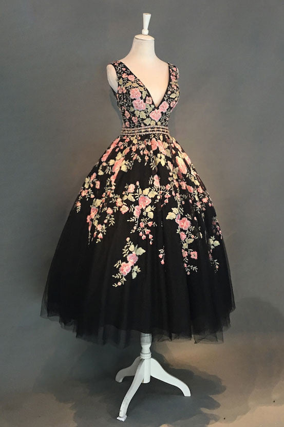 Black v neck lace applique tea long prom dress, black evening dress