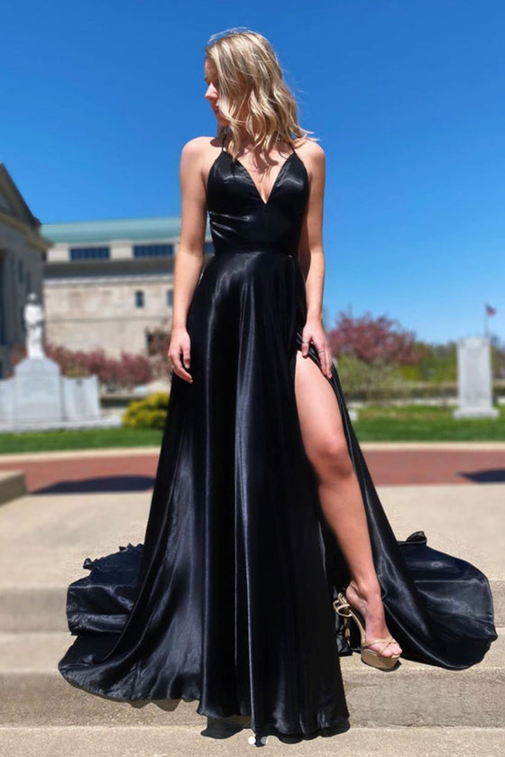 Simple v neck black evening dress black formal dress