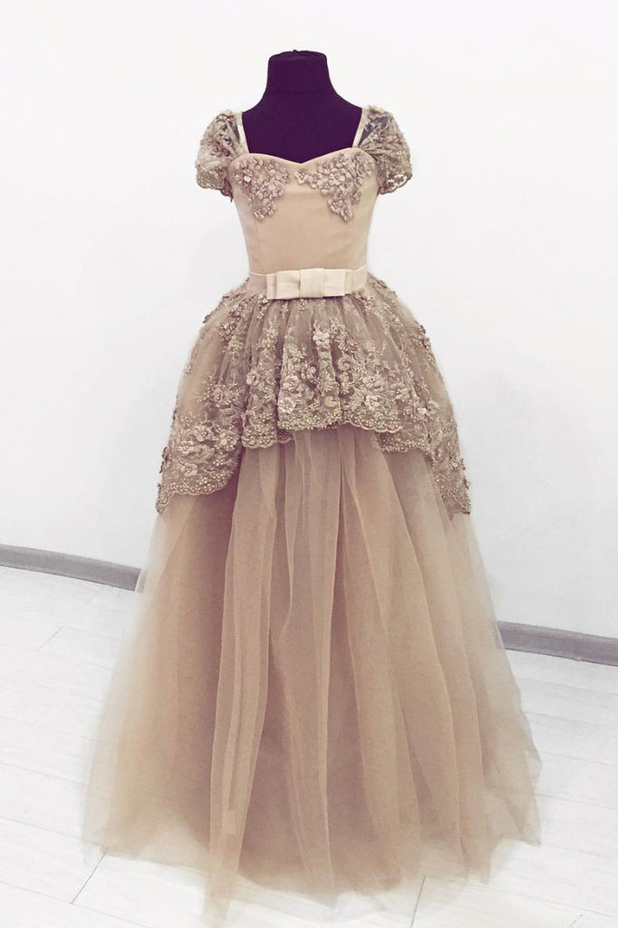 Champagne sweetheart tulle lace long prom dress, evening dress