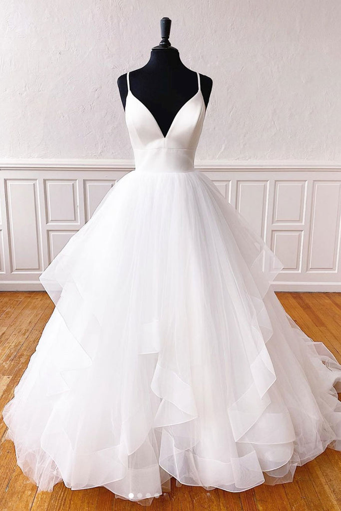 White v neck tulle long prom dress white formal dress