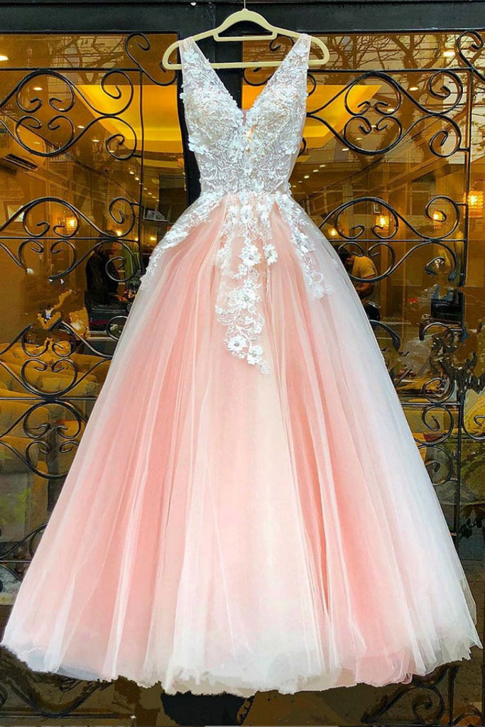 Pink v neck lace tulle long prom dress pink lace evening dress