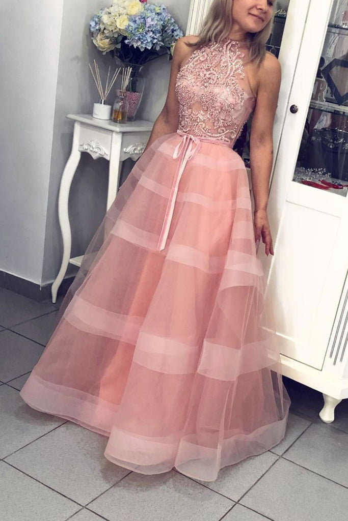 Pink high neck tulle lace long prom dress pink evening dress