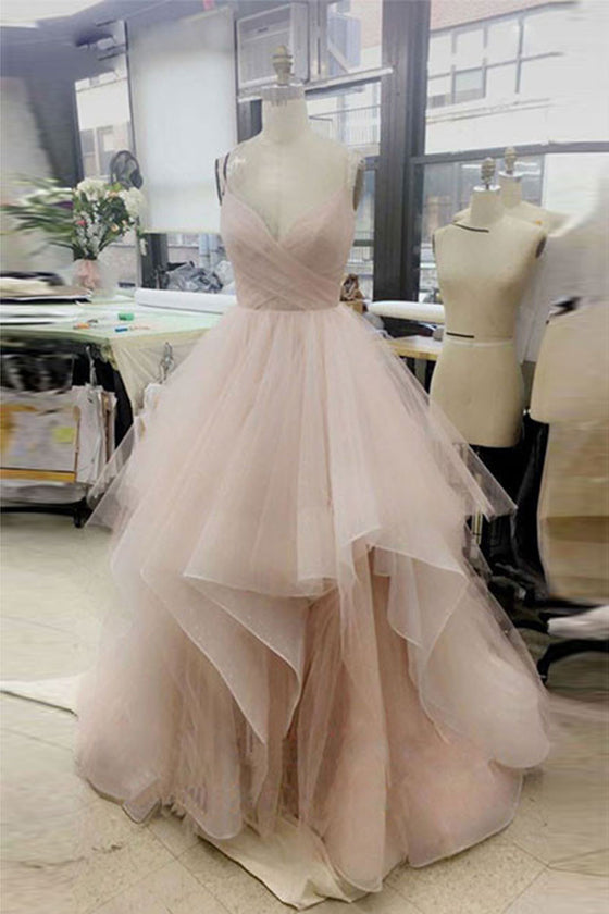 Simple v neck tulle long prom dress, tulle evening dress