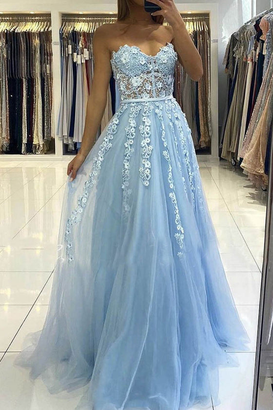 Blue tulle lace long prom dress blue tulle lace formal dress