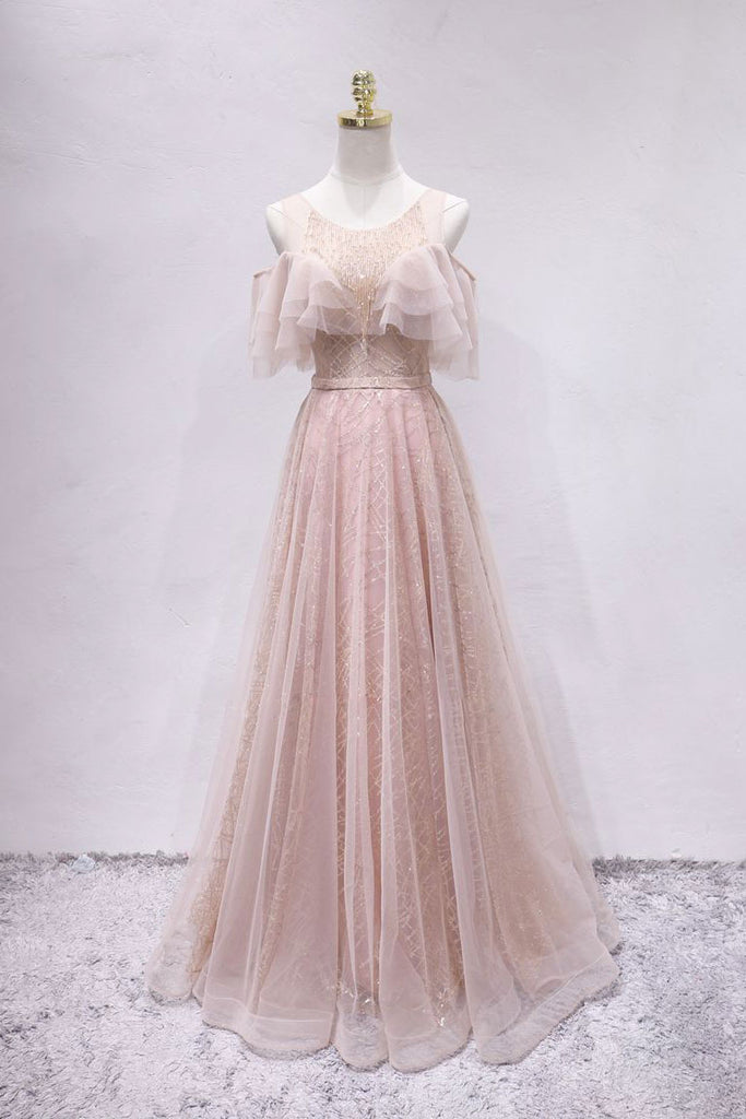 Unique tulle long prom dress, tulle long evening dress