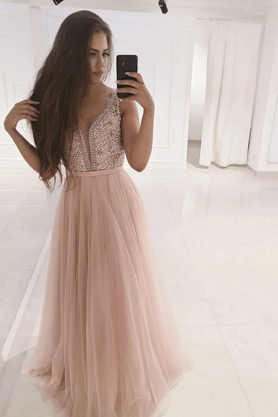 Pink v neck beads long prom dress pink tulle evening dress