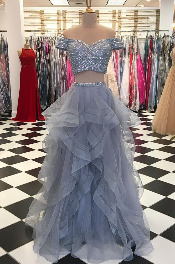 Gray tulle Sequins two pieces long prom dress, gray evening dress