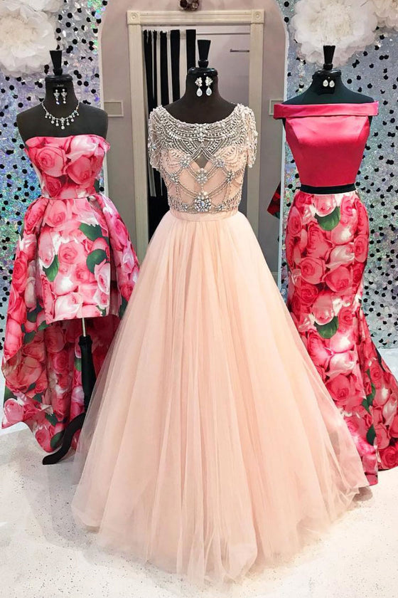 Pink round neck beads tulle long prom dress, pink evening dress