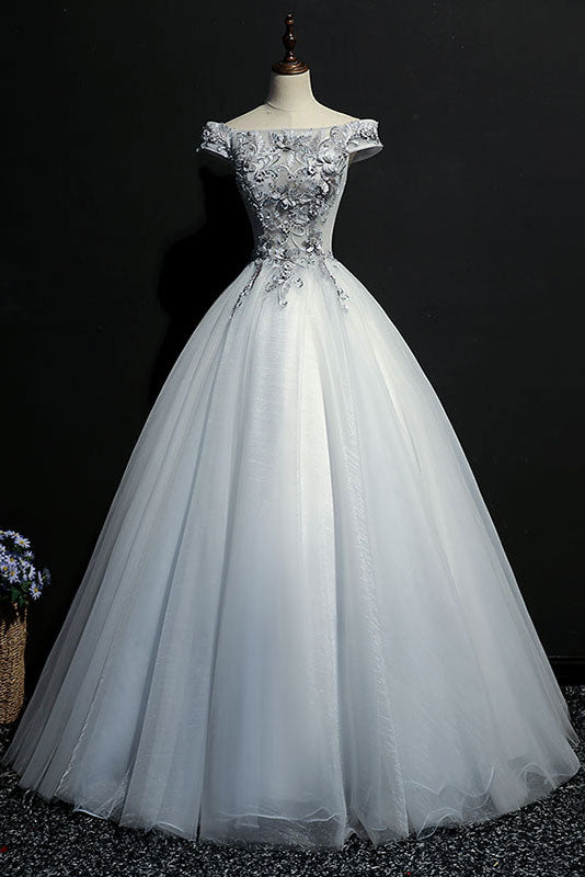 Gray tulle lace off shoulder long prom dress, gray evening dress
