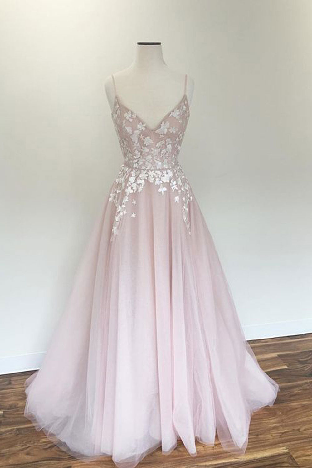 058feeb271 Light pink v neck tulle applique long prom dress, pink evening dress -  dresstby