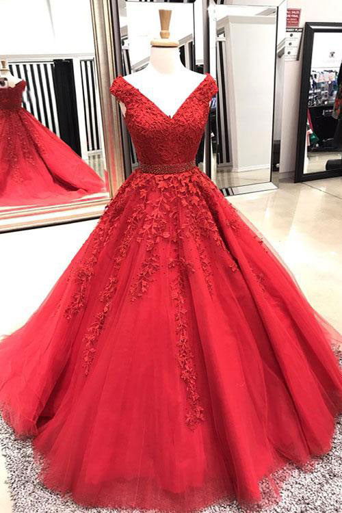 Red v neck tulle lace applique long prom dress, red evening dress