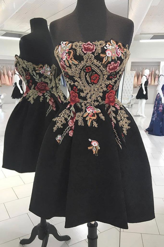 Black lace applique short prom dress black homecoming dress