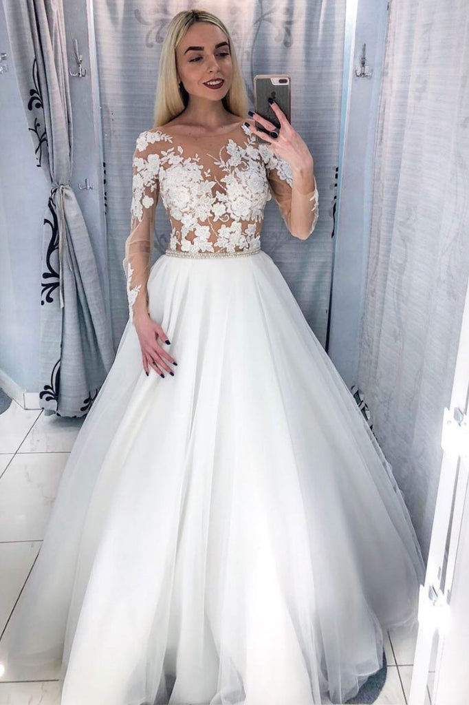 White round neck tulle lace long prom dress white tulle formal dress