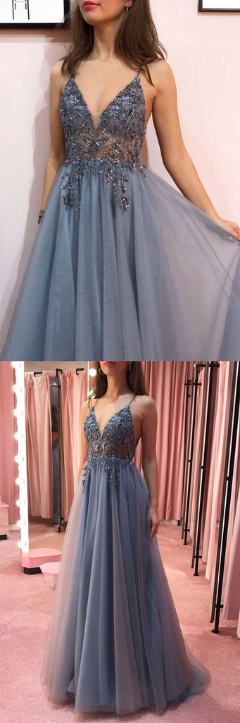Gray v neck tulle beads long prom dress gray tulle formal dress