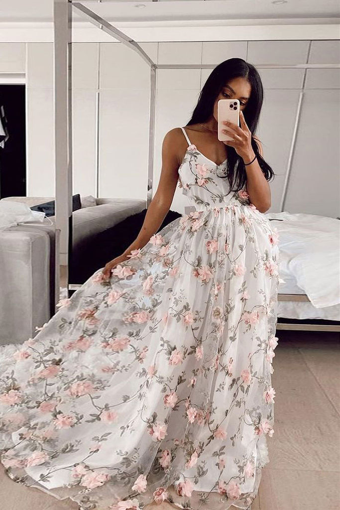 White v neck tulle lace applique long prom dress white evening dress