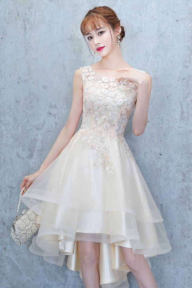 Champagne tulle lace high low prom dress, homecoming dress