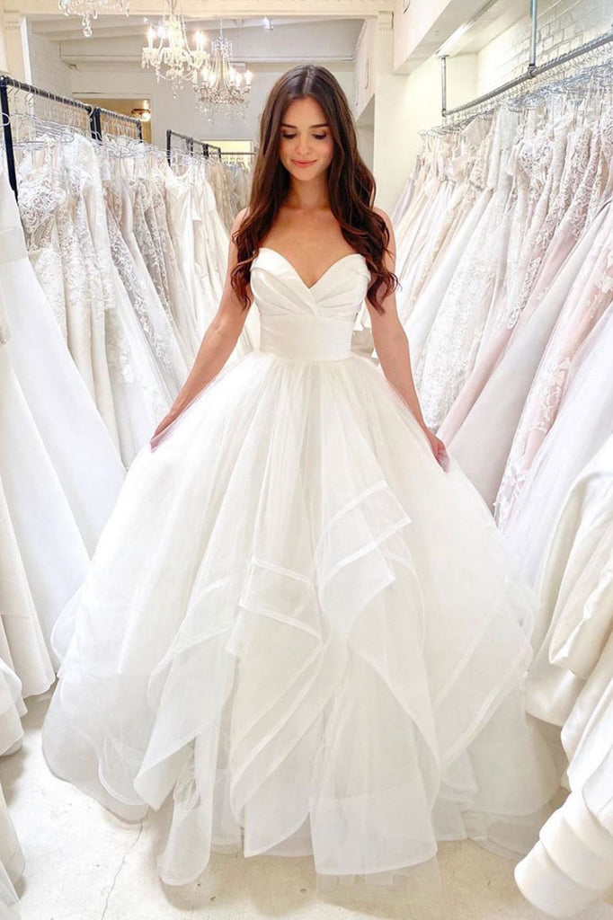 White sweetheart tulle long prom gown white formal dress