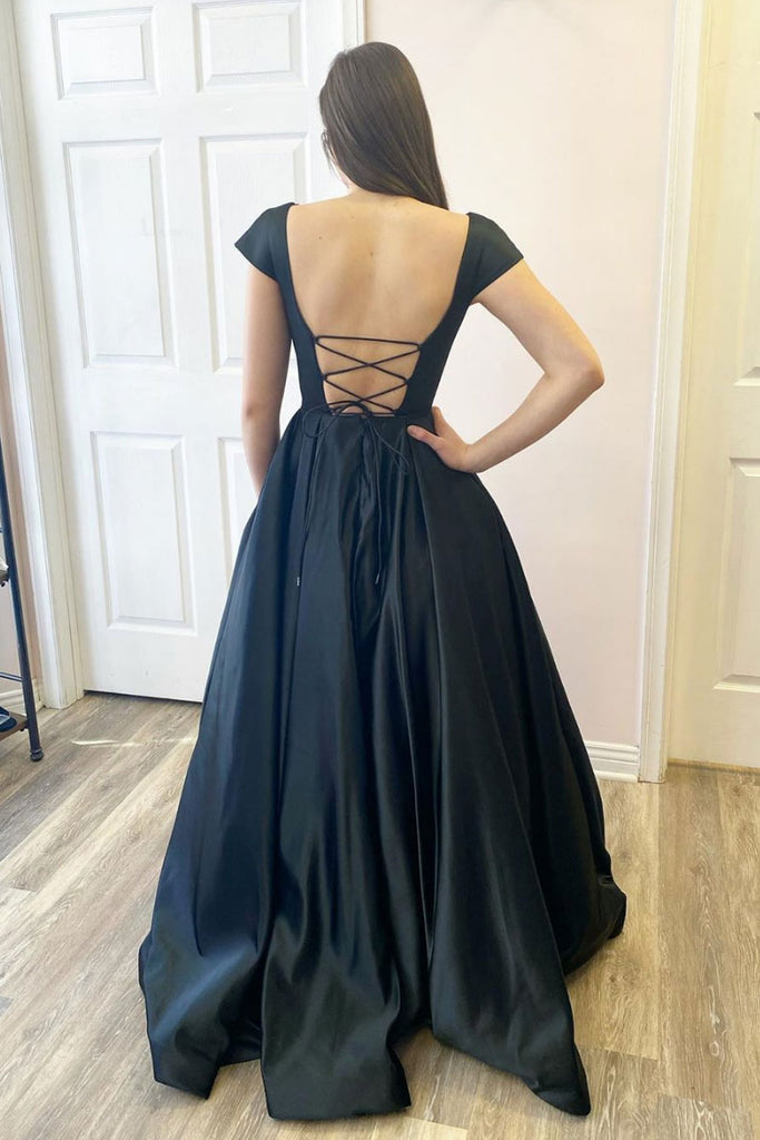 Simple black satin long prom dress black satin evening dress