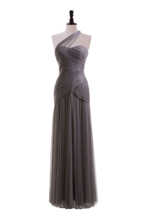 Simple tulle long prom dress, tulle long bridesmaid dress