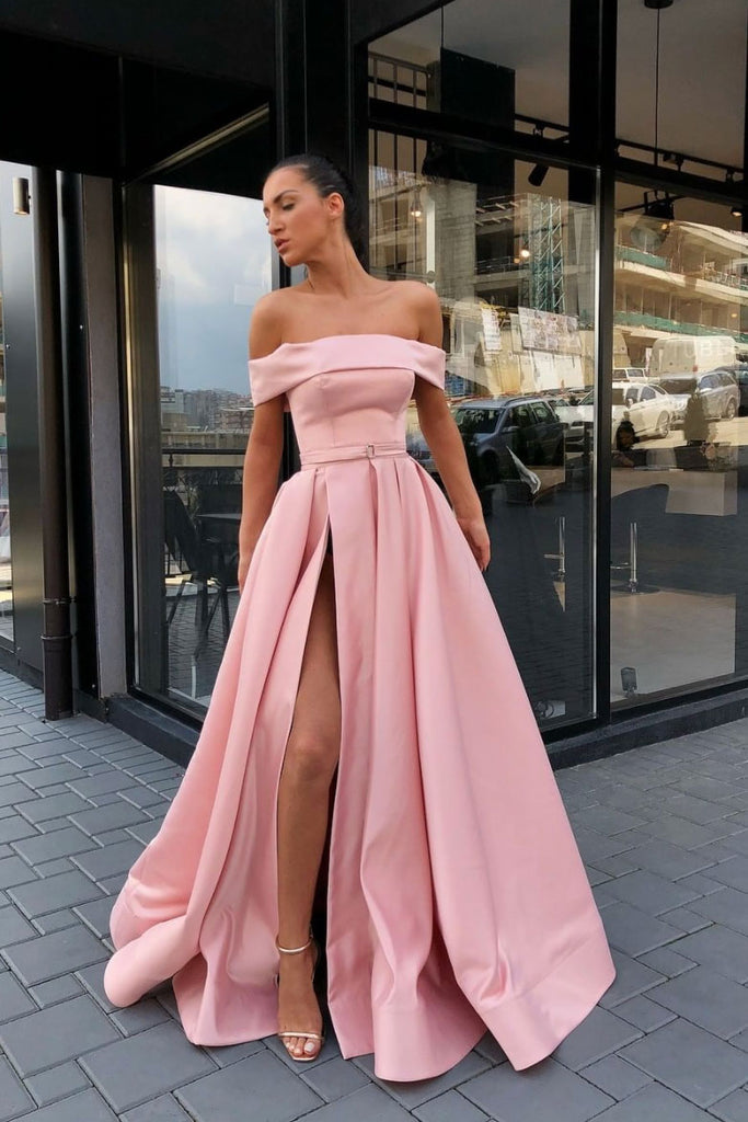 Simple pink off shoulder satin long prom dress pink formal dress