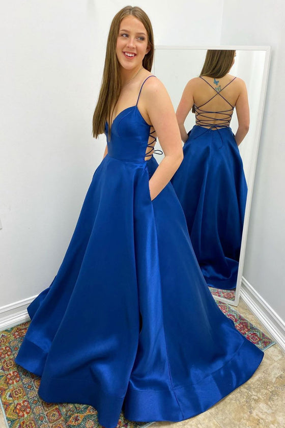 Simple v neck satin blue long prom dress blue formal dress
